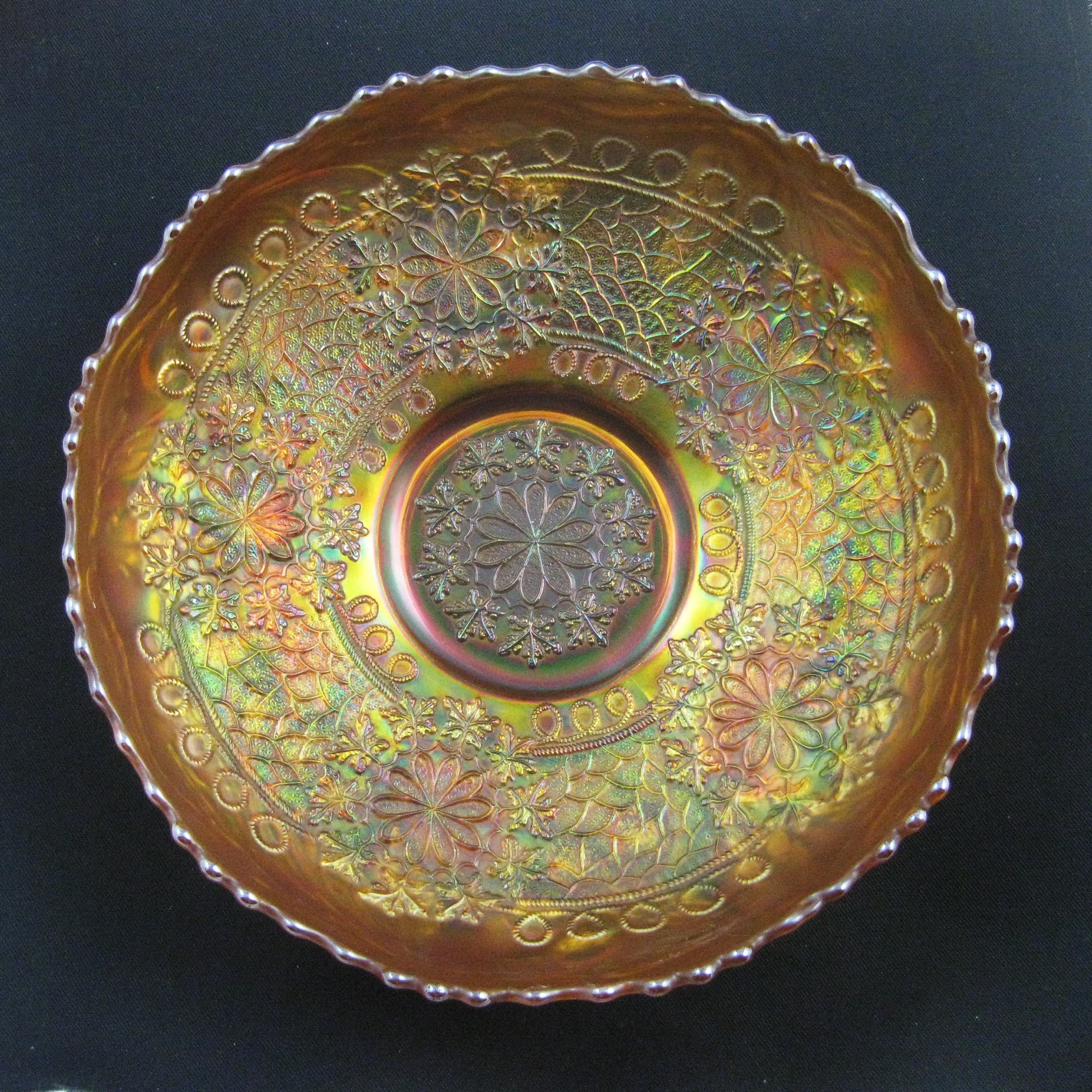 Antique Fenton Marigold Leaf Chain Carnival Glass Ice