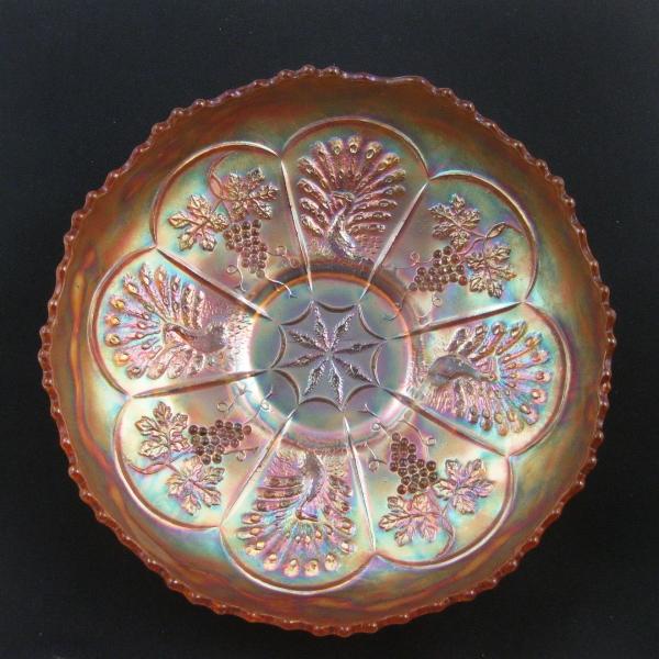 Antique Fenton Marigold Peacock and Grape Carnival Glass Ice Cream Bowl