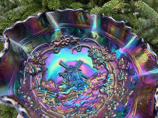 Antique Imperial Amethyst Windmill Carnival Glass Bowl