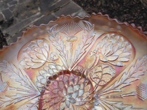 Antique Fenton Marigold Lotus & Thistle Carnival Glass Bowl