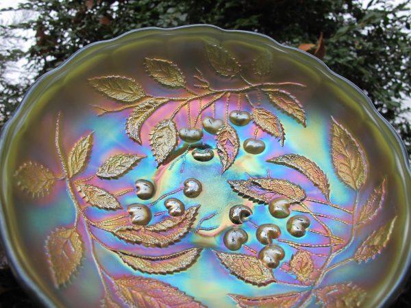 Antique Millersburg Emerald Green Hanging Cherries Carnival Glass Deep ICS Bowl