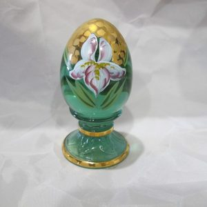 Fenton Iris Light Green Painted Art Glass Egg Paperweight