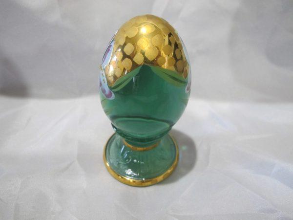 Fenton Iris Light Green Painted Art Glass Egg Paperweight