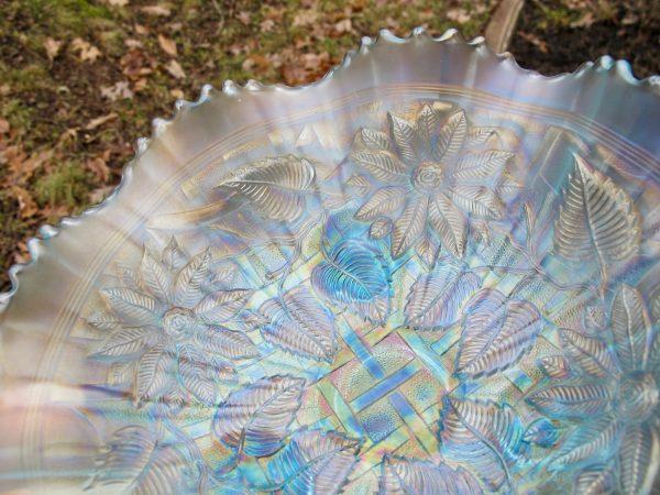 Antique Northwood Ice Blue Poinsettia & Lattice Carnival Glass Bowl