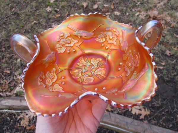 Antique Fenton Pumpkin Birds & Cherries Carnival Glass Bon Bon