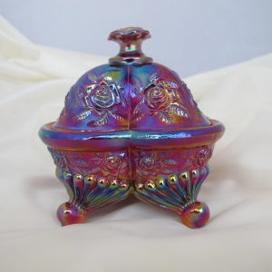 Fenton Red Roses Carnival Art Glass Trinket Jewelry Box Dish