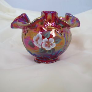 Fenton Red Painted Flowers Iridescent Art Carnival Glass Vase