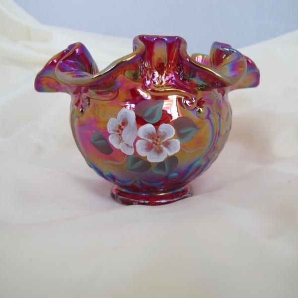 Fenton Red Painted Flowers Iridescent Art Carnival Glass Vase