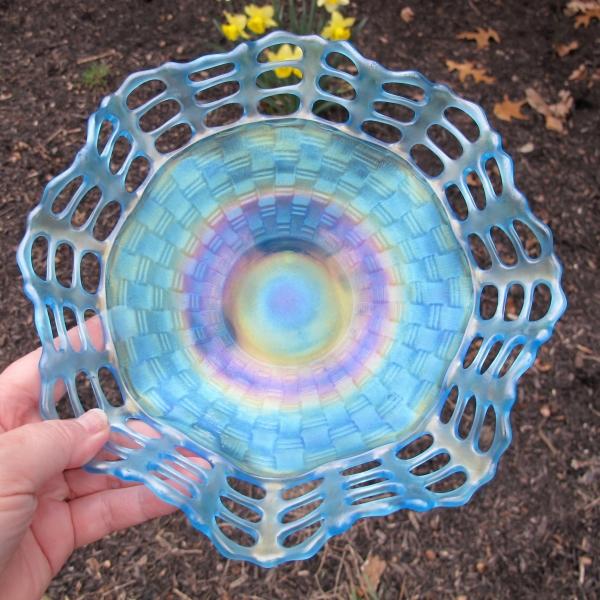 Antique Fenton Celeste Blue Three Row Open Edge Carnival Glass Bowl