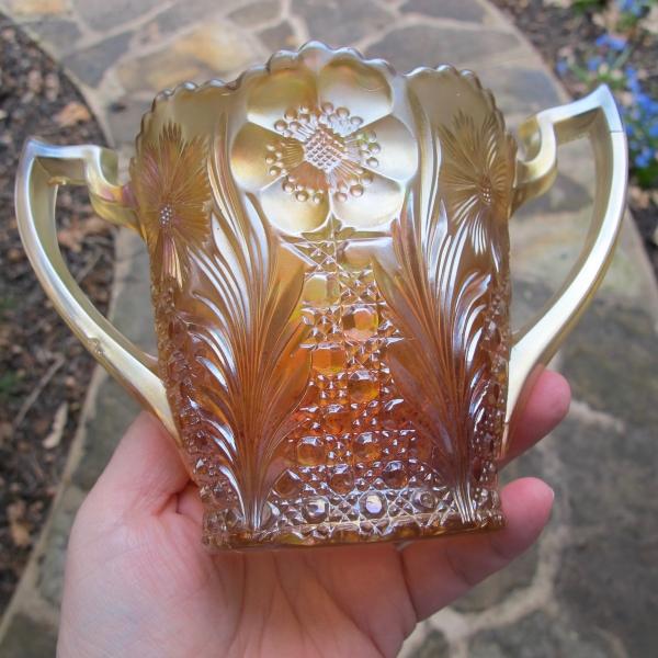 Antique US Glass Honey Amber Cosmos & Cane Carnival Glass Spooner Vase