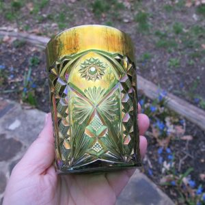 Antique Millersburg Green Marilyn Carnival Glass Tumbler