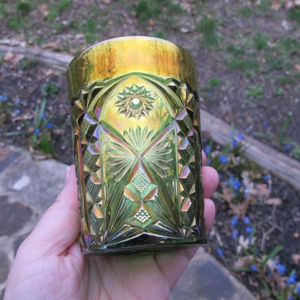 Antique Millersburg Green Marilyn Carnival Glass Tumbler