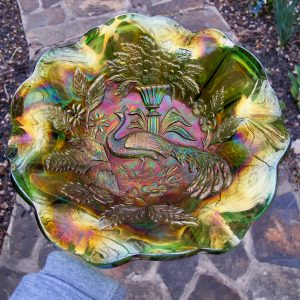 Antique Millersburg Radium Green Peacock Carnival Glass Large Bowl