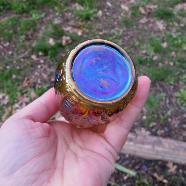 Antique Imperial Smoke Carnival Glass Corn Bottle