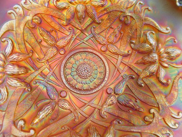 Antique Northwood Pumpkin Wishbone Carnival Glass Tri-Corner Plate