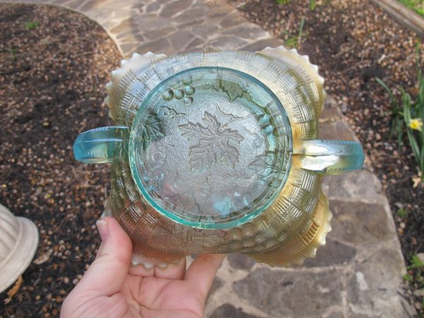 Antique Northwood Aqua Opal Grape & Cable Stippled Carnival Glass Bon Bon