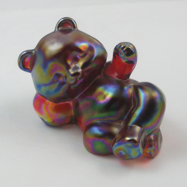 Fenton Red Carnival Glass BEAR #5233 RN Figurine / Paperweight Animal