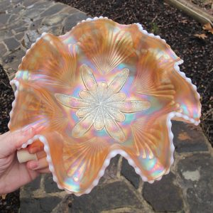 Antique Dugan Peach Opal Petal & Fan Carnival Glass Large Bowl