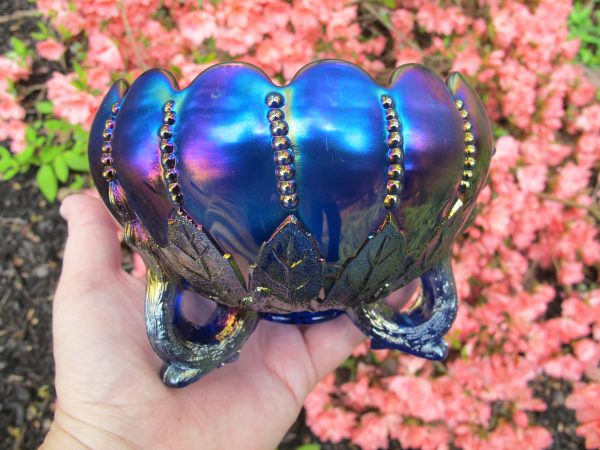 Antique Northwood Electric Blue Leaf & Beads Carnival Glass Rose Bowl