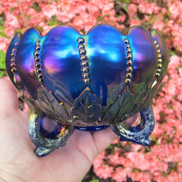 Antique Northwood Electric Blue Leaf & Beads Carnival Glass Rose Bowl