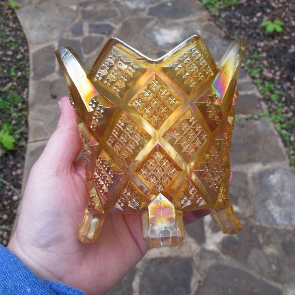 Antique Northwood Diamond Points Marigold Carnival Glass Basket