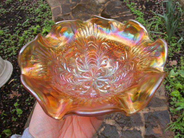 Antique U.S. Glass Honey Amber Cosmos & Cane Headdress Carnival Glass Bowl