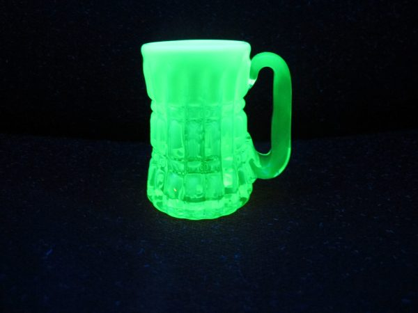 Gibson Vaseline Opal Prison Bars Art Glass Toothpick Holder Mug Shot Glass