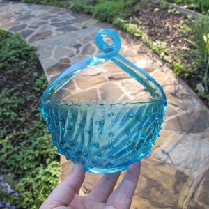 Antique Jefferson Blue Opalescent Glass May Basket