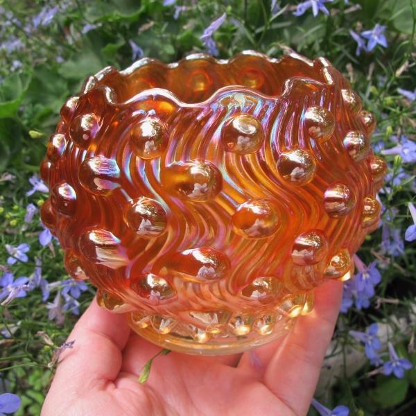 Antique Millersburg Marigold Swirled Hobnail Carnival Glass Rose Bowl