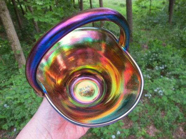 Robert Hansen Amethyst Inverted Strawberry Carnival Glass Flared Basket
