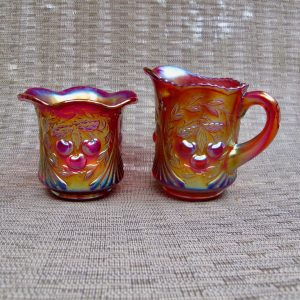 Robert Hansen Red Wreathed Cherry Carnival Glass Creamer & Sugar Set