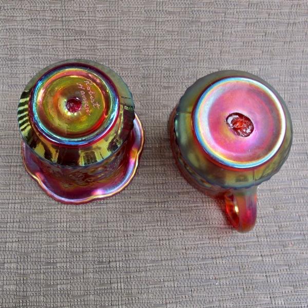 Robert Hansen Red Wreathed Cherry Carnival Glass Creamer & Sugar Set