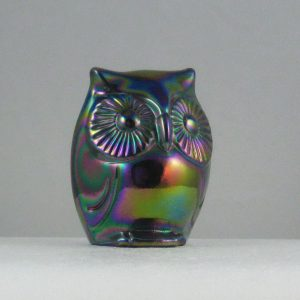 Fenton Amethyst Carnival Glass Owl Figurine / Paperweight Animal