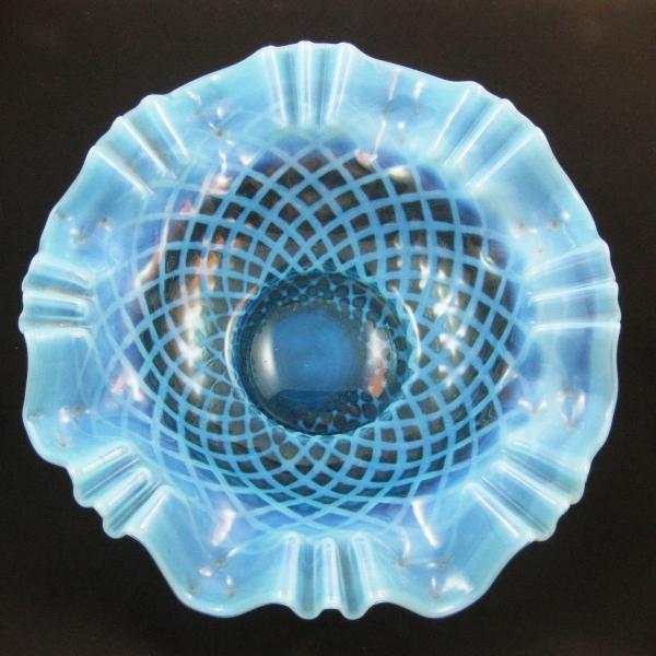 Antique Dugan Blue Opal Bubble Lattice Opalescent Glass Bowl