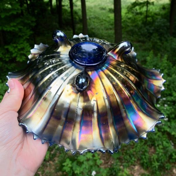 Antique Northwood Blue Poinsettia & Lattice Carnival Glass Bowl