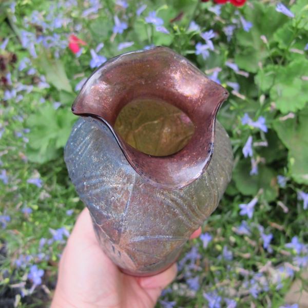 Antique Dugan Lavender Stippled Estate Frit Carnival Glass Vase