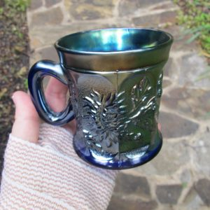 Antique Northwood Blue Dandelion Carnival Glass Mug
