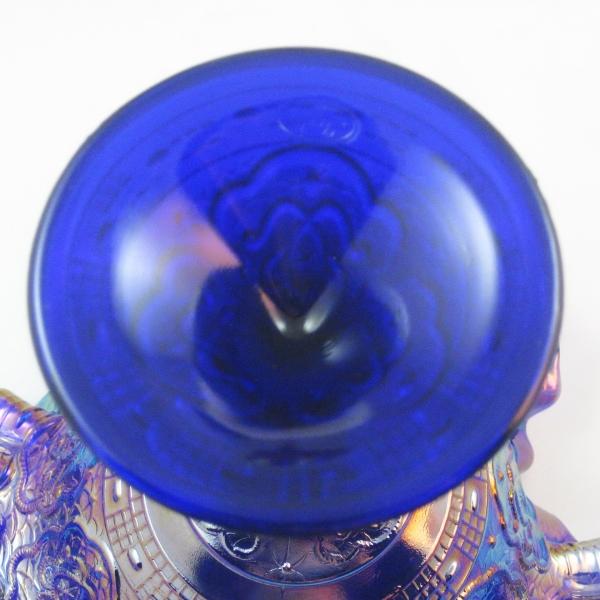 Fenton Cobalt Marigold Persian Medallion Carnival Glass Tri-Corner Compote
