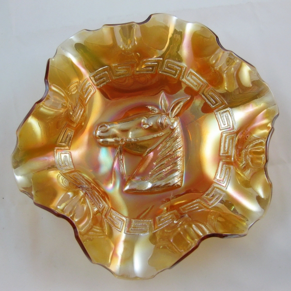 Dugan Marigold Pony Carnival Glass 6-ruffle Bowl