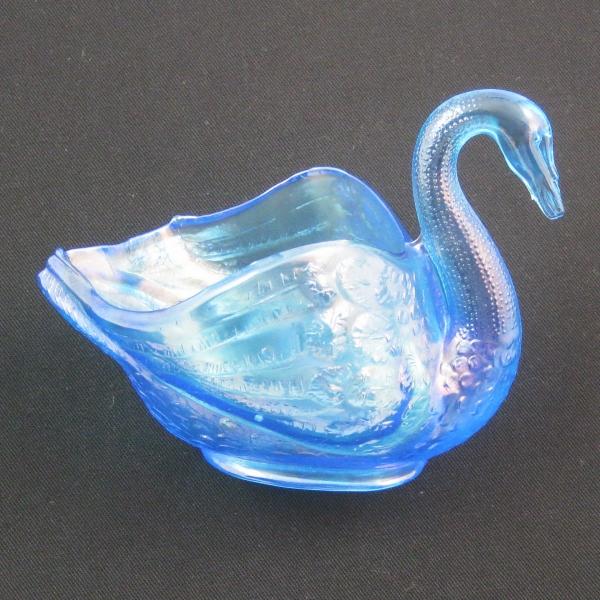 Fenton Celeste Blue Carnival Glass Pastel Swan Salt