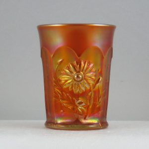 Antique Northwood Dark Marigold Dandelion Carnival Glass Tumbler
