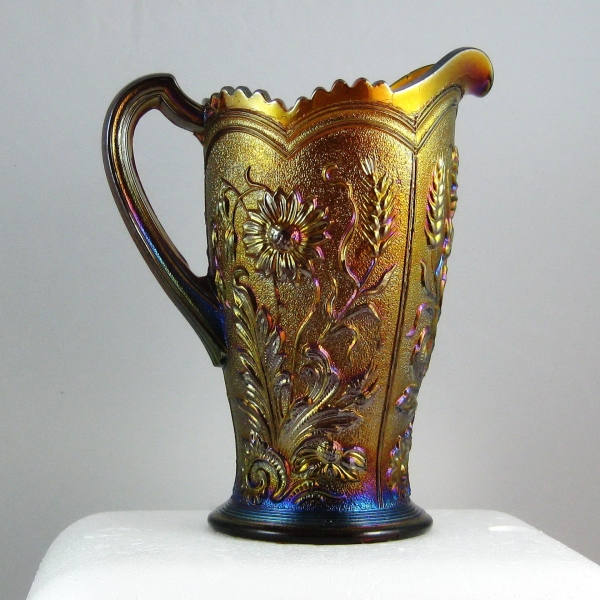 Antique Imperial Amber Fieldflower Carnival Glass Water Pitcher