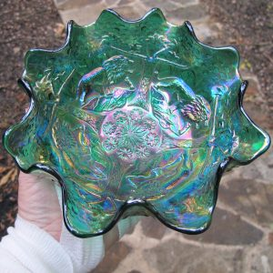 Fenton Teal Green Lions Fenton's Flowers Carnival Glass Ruffled Bowl