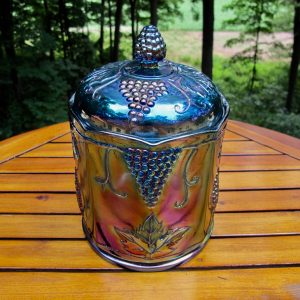 Indiana Blue Harvest Grape Carnival Glass Large Canister