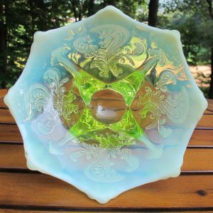 Antique Dugan Vaseline Opal Inverted Fan & Feather Opalescent Glass Flared Bowl or Card Tray