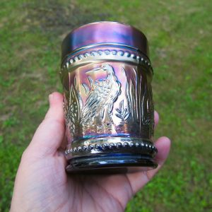 Antique Dugan Blue Stork & Rushes Carnival Glass Tumbler