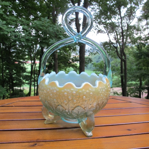 Fenton for Levay Aqua Opal Fenton's Flowers Carnival Glass Basket - Twisted Handle
