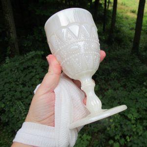 Antique Phoenix Pearl Lustre Lacy Dewdrop Carnival Glass Wine Goblet