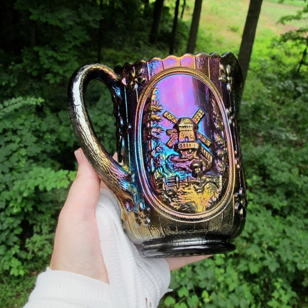 Antique Imperial Electric Amethyst Windmill Carnival Glass Milk Pitcher