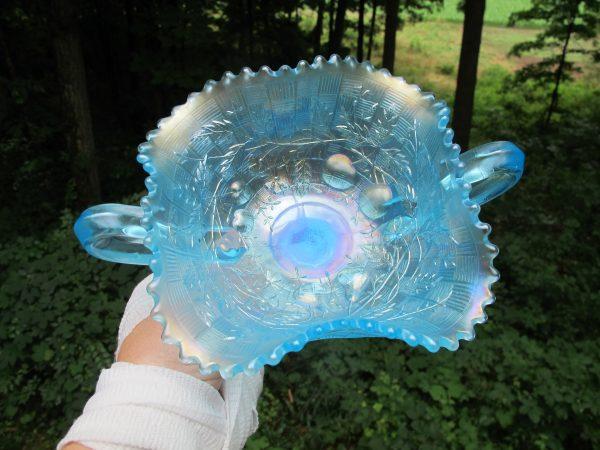 Antique Northwood Ice Blue Fruits & Flowers Carnival Glass Bon Bon